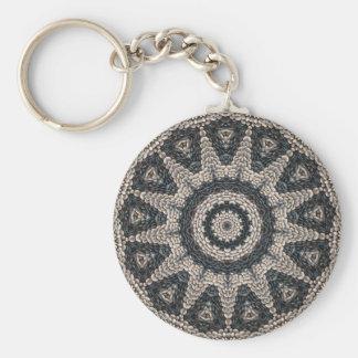 Beautiful Greek black and white pebble Mosaic Art Keychain