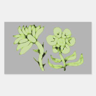 Beautiful Green Abstract Flowers Rectangular Sticker