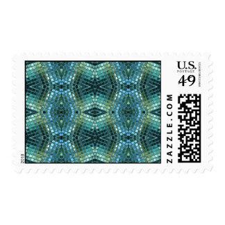 Beautiful Green and Blue Glass Look  Mosaic Postage