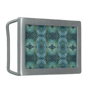 Beautiful Green and Blue Glass Mosaic Belt Buckle