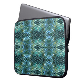 Beautiful Green and Blue Glass Mosaic Laptop Computer Sleeves