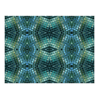 Beautiful Green and Blue Glass Mosaic Poster