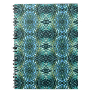 Beautiful Green and Blue Glass Mosaic Spiral Note Books