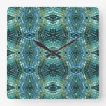 Beautiful Green and Blue Glass Mosaic Square Wall Clock