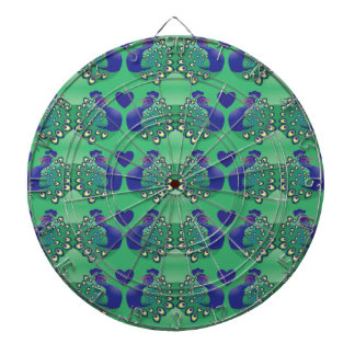 Beautiful green and blue peacocks birds with tail dart boards