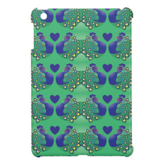 Beautiful green and blue peacocks birds with tail iPad mini case
