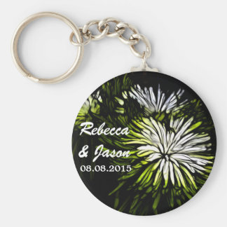 beautiful green and white floral design.png keychain