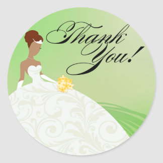 Beautiful Green and White Luxe Thank You Classic Round Sticker