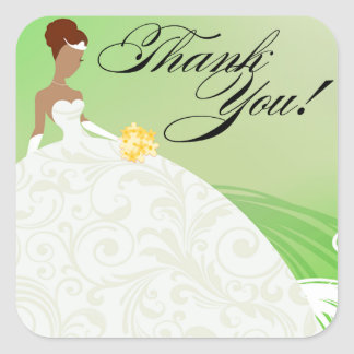 Beautiful Green and White Luxe Thank You Square Sticker