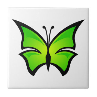 Beautiful green butterfly animation illustration ceramic tile
