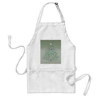 Beautiful Green Christmas Tree with Colorful Stars Adult Apron