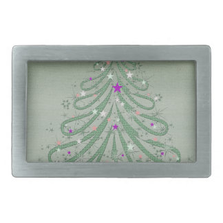 Beautiful Green Christmas Tree with Colorful Stars Belt Buckle