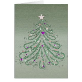 Beautiful Green Christmas Tree with Colorful Stars Card
