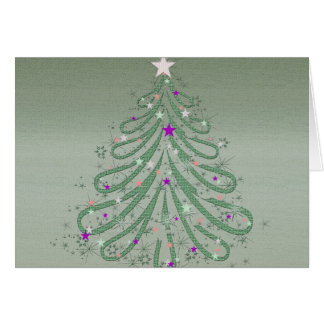 Beautiful Green Christmas Tree with Colorful Stars Greeting Card