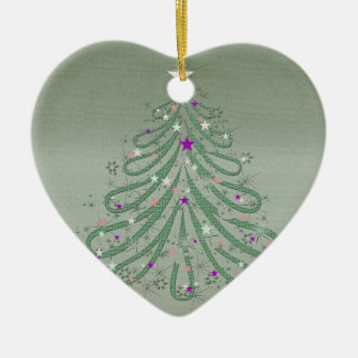 Beautiful Green Christmas Tree with Colorful Stars Ceramic Ornament