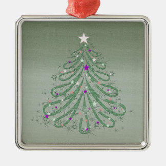 Beautiful Green Christmas Tree with Colorful Stars Metal Ornament