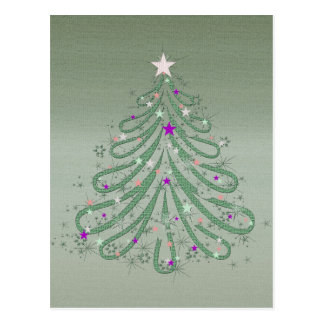 Beautiful Green Christmas Tree with Colorful Stars Post Card