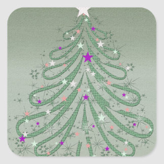 Beautiful Green Christmas Tree with Colorful Stars Square Sticker