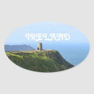 Beautiful Green Cliffs of Moher Oval Sticker