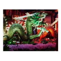 Beautiful Green Dragon Art Sculpture Postcard