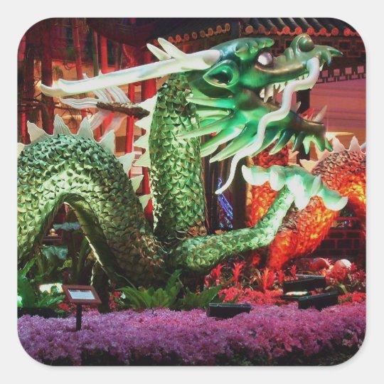 Beautiful Green Dragon Art Sculpture Square Sticker