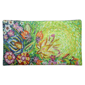 Beautiful Green Flower Abstract Art Cosmetic Bag