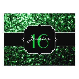 Beautiful Green glitter sparkles  5.5x7.5 Paper Invitation Card