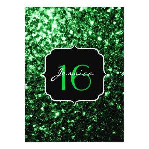 Beautiful Green glitter sparkles  5.5x7.5 Paper Invitation Card