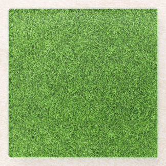 Beautiful green grass texture from golf course glass coaster