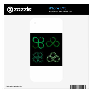 Beautiful green leaves stylized with organic lines iPhone 4S skins