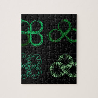Beautiful green leaves stylized with organic lines jigsaw puzzle