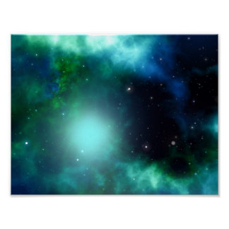 Beautiful Green Nebula filled with Stars Poster