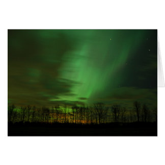 Beautiful Green Northern Lights Michigan Cards