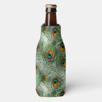Beautiful Green Peacock Feather Bottle Cooler