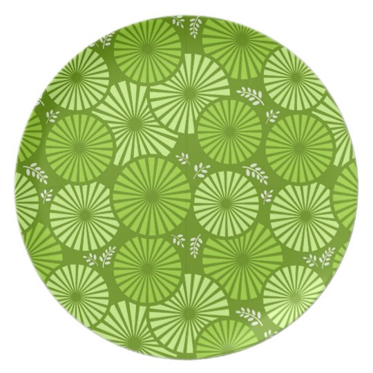 Beautiful, green retro floral Plate