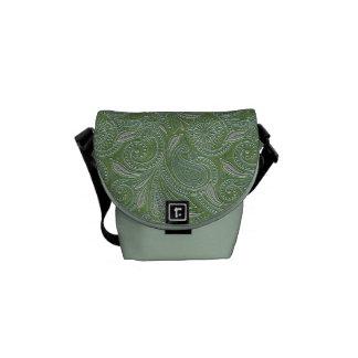Beautiful Green & Silver Paisley Messenger Bag