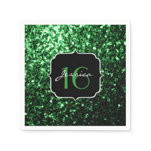 Beautiful Green sparkles Sweet 16 napkins Standard Cocktail Napkin