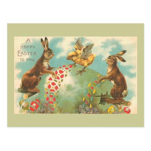 Beautiful Green Vintage Easter Egg Postcard