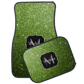 Beautiful Greenery Green glitter sparkles Monogram Car Mat
