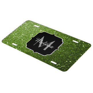 Beautiful Greenery Green glitter sparkles Monogram License Plate