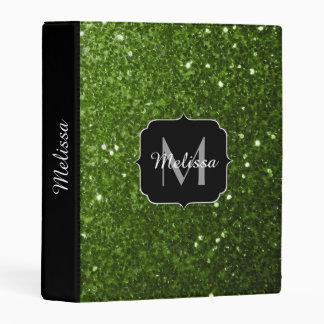 Beautiful Greenery Green glitter sparkles Monogram Mini Binder