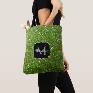 Beautiful Greenery Green glitter sparkles Monogram Tote Bag
