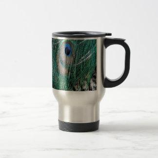 Beautiful Greenish  Peacock Feathers 15 Oz Stainless Steel Travel Mug