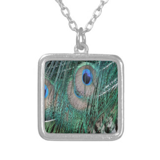 Beautiful Greenish  Peacock Feathers Silver Plated Necklace