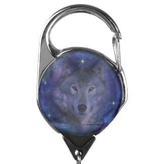 Beautiful Grey Wolf in the Moonlight Badge Holder