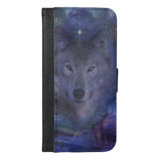 Beautiful Grey Wolf in the Moonlight iPhone 6/6s Plus Wallet Case