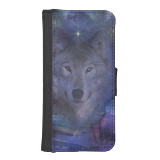 Beautiful Grey Wolf in the Moonlight iPhone 5 Wallets