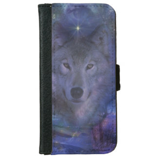 Beautiful Grey Wolf in the Moonlight Wallet Phone Case For iPhone 6/6s