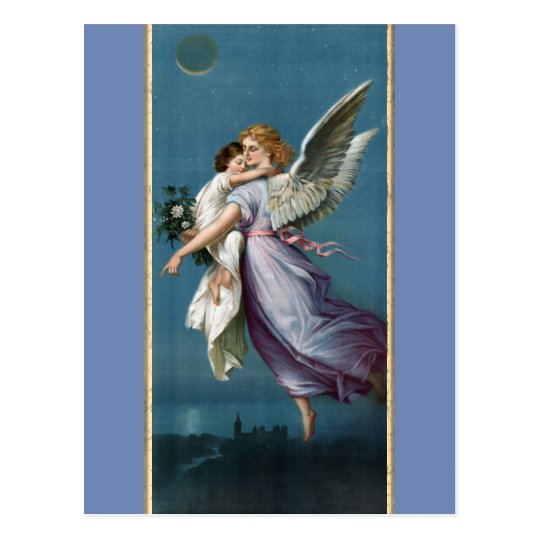 4535b4bda Beautiful Guardian Angel Painting Postcard | Zazzle.com