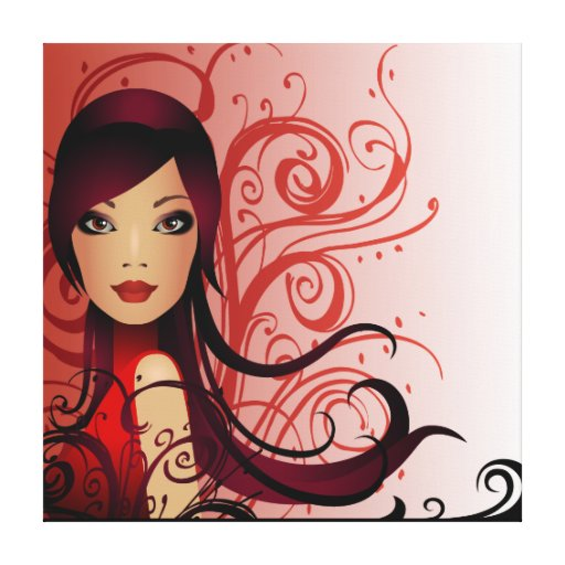 Beautiful Hairstyle Girl  Wrapped Canvas